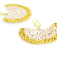 Lace Earrings - Gold and Ivory - Bridal Earrings - Metallic Lace Bridesmaid Jewelry - Dangle Earrings For Her - Fiber Art - Boho