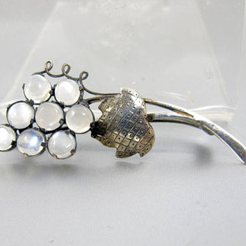 Antique Moonstone Brooch.  Art Nouveau Moonstone Grape Cluster Pin Brooch. Antique Sterling Silver Moonstone Jewelry