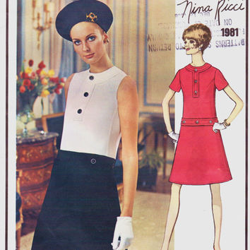Vintage 1960s Vogue Paris Original Pattern 1981 Nina Ricci Womens Mod One Piece A-Line Dress Size 16 Bust 38