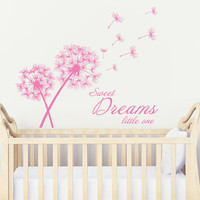 Wall Decal Vinyl Sticker Decals Art Decor Design Dandelion Flower Sign Lettering Sweet Dreams little one Bedroom Baby Kids Nursery (r1039)