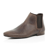 River Island MensBrown leather Chelsea boots
