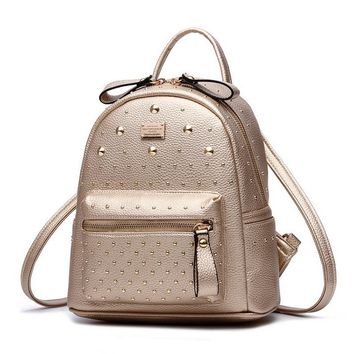 MINI PU Leather Backpack Rivet Design