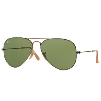 Ray Ban Aviator RB3025 177/4E Sunglasses Gold Frame Green Classic Lens 58mm
