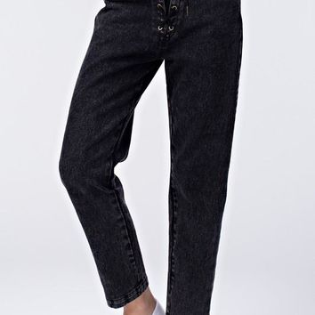 Laced Up High Waist Jean - Black Denim