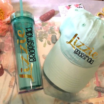 Bridal party gift set, Hat and tumbler gift for Bridesmaid, gift for maid of honor, mint skinny tumbler