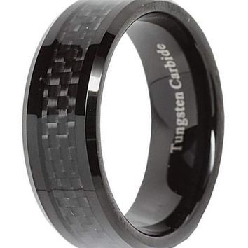 CERTIFIED 8mm Tungsten Carbide Ring Carbon Fiber Inlay Black Plated Wedding Band