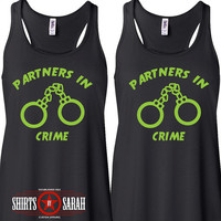 Partners In Crime Best Friend Tank Tops - Handcuff Tanks Besties Hand Cuffs Handcuffs Matching Top