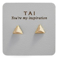 Women's Tai Stud Earrings - Gold Tri Pyramid