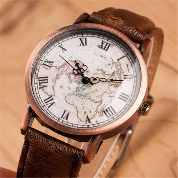 Women Vintage Style World Map Casual Sports Leather Watch + Gift Box