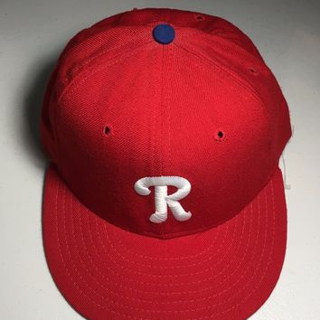 READING FIGHTIN PHILS MiLB NEW ERA 5950 RED W/ GRAY UNDER FITTED HAT