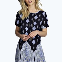 Ella Border Print Woven Shift Dress