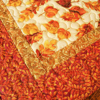 Quilted Fall Table Topper with Burnished Autumn Leaves of Gold Rust and Orange, Autumn Table Mat, Square Fall Table Topper, Quiltsy Handmade