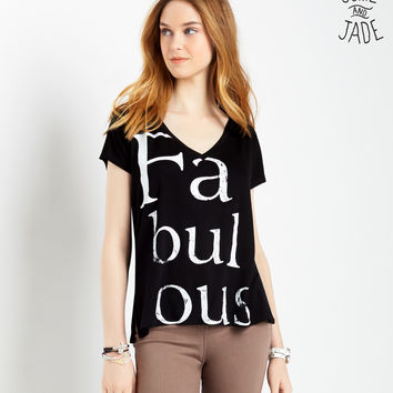 Aeropostale Womens Junie and Jade Fabulous T-Shirt - Black,