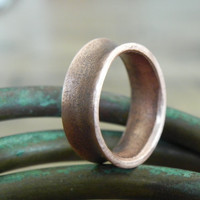 Copper Ring - Hammered and Oxidized Smooth Copper Band Size 7