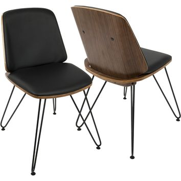 Avery Mid-Century Modern Accent/Dining Chairs, Walnut & Black (Set of 2)