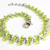 Stainless Steel Beaded Anklet - Lime Chainmaille Anklet