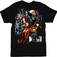 Marvel Comics Heroglyphics Team Ups Black Adult T-shirt
