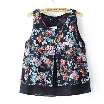 Bralette Hot Comfortable Beach Stylish Sexy Summer Slim Floral Print Double-layered Sleeveless Chiffon Vest [4920538756]