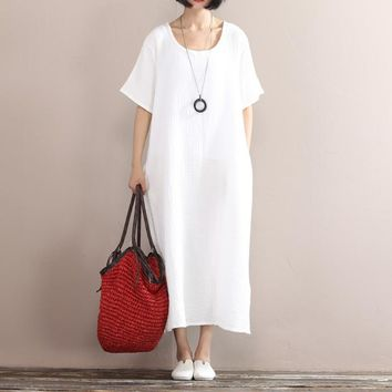 Solid colors cotton linen long dress 2016 Summer women loose waist casual gown Short sleeve large size clothes