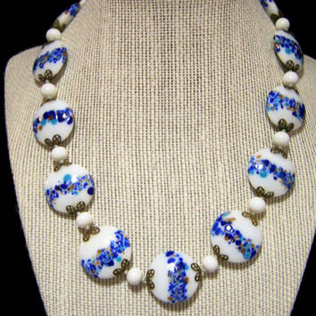 Venetian Round Disk Bead Necklace, Murano Beads, Venetian Jewelry, Art Glass Jewelry 1017