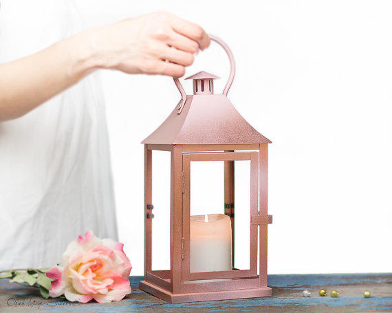 Rose gold effect outdoor lantern from openvintageshutters for Decoration rose gold