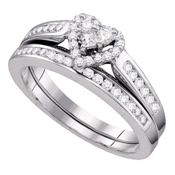 14kt White Gold Womens Diamond Heart Bridal Wedding Engagement Ring Band Set 1/2 Cttw