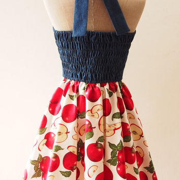 Tropical Dress, 50s Red Apple Swing Dress, Halter Vintage Inspired Dress, Tea Party Dress, Pin Up Summer Dress, Denim Dress, XS-XL, Custom