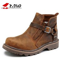 Z. Suo Handmade Cowhide genuine leather men boots working boots platform buckle fashion men shoes