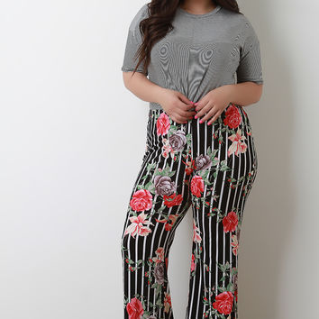 Striped Floral High Waisted Flared Pants | UrbanOG