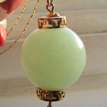Large Heavy Translucent Chinese Celedon Jade Lantern Drop Pendant 14k Solid 14k Gold