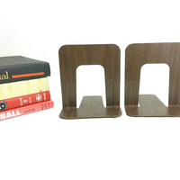 Vintage Bookends Faux Wood Grain, Industrial Metal Office Bookend, Set of 2 , Retro/Mid Century Modern Mad Men Style, 1960s Decor Library