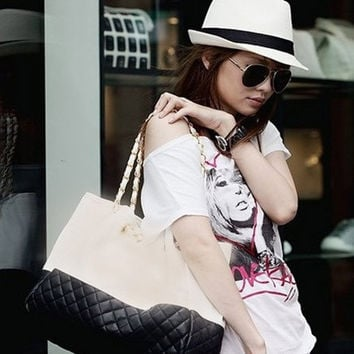 Lady Women Korean PU Leather Handbag Hobo Shoulder Bag Shopping Tote Bag = 1705672260
