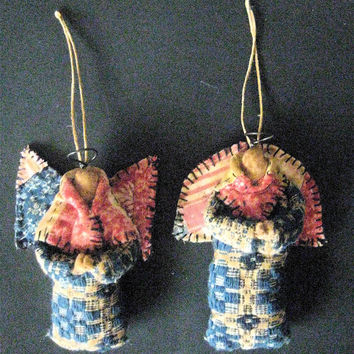 "OOAK Primitive Folk Art Angel Ornaments-""PRAIRIE ANGELS""-Set/2---Original Design Handcrafted from Antique Coverlet and Quilt"