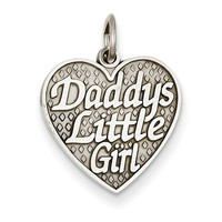 14kt White Gold Daddy's Little Girl Textured Heart Girls Pendant