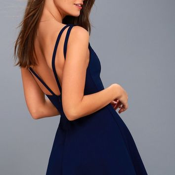 Love Galore Navy Blue Skater Dress