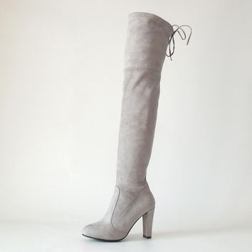 Faux Suede Stretch thigh high boots women over the knee boots Ladies black gray lace up High heels Autumn Winter boots shoes