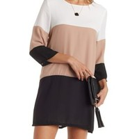 White Combo Color Block Shift Dress by Charlotte Russe