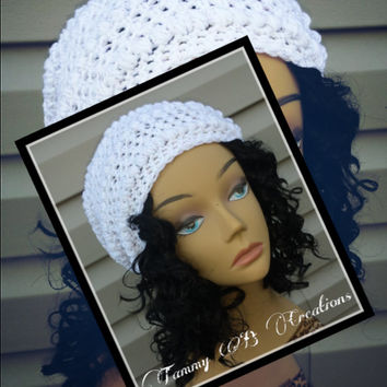 New Women White puff stitch beanie- Oversize slouchy beanie- Winter crochet hat- Handmade Crochet hat