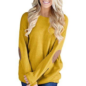 Anxinke Women 2018 New Loose Elbow Patch Long Sleeve Crew Neck Blouse Tops