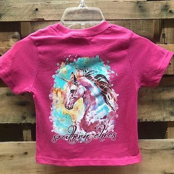 Southern Chics Watercolor Unicorn Toddler Youth Girlie Bright T Shirt