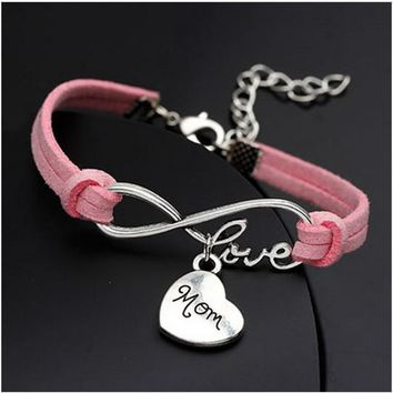 Rope Bracelet Pink Always Love Mom
