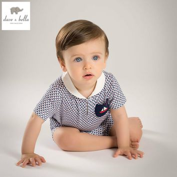 DB5099 dave bella summer new born baby cotton printed romper striped infant clothes boys printing romper baby 1 piece costumes