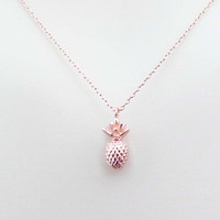 Pineapple, Rose gold, Necklace, Fruit, Necklace, Lovers, Best friend, Mom, Sister, Gift, Accessory, Jewelry