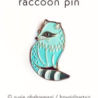 Raccoon Pin Enamel Lapel Pin Raccoon Pin by boygirlparty