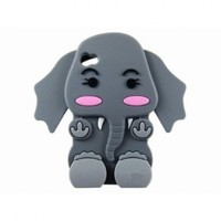SODIAL(TM) Cute 3D Cartoon Elephant Silicone Case Cover Skin for iPhone 4 4S Gray