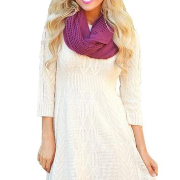 Fashion White 3/4 Sleeve Cable Knit Fitted Sweater Dress