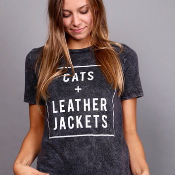 Cats + Leather Jackets Top