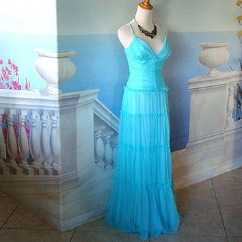 Vintage Jessica McClintock for Gunne Sax Tiffany Blue Full Length Party Gown Size 5/6