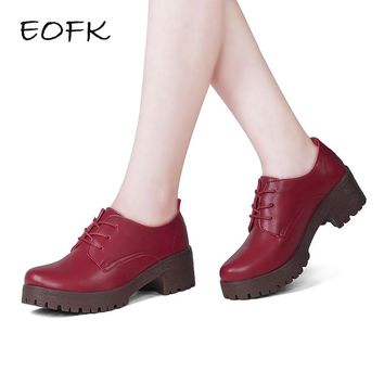 EOFK 2018 Women Handmade Square Heel Shoes red Leather casual high heels wedges shoes Woman Female oxford wedges Pumps