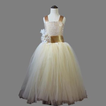 2017 vintage lace rustic champagne color spaghetti straps fluffy tulle ball gown flower girl dresses for weddings party